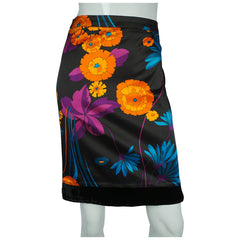 Dolce Gabbana Skirt D&G Ittierre Floral Cotton Authentic w Hologram Sz 28 / 42 - Poppy's Vintage Clothing