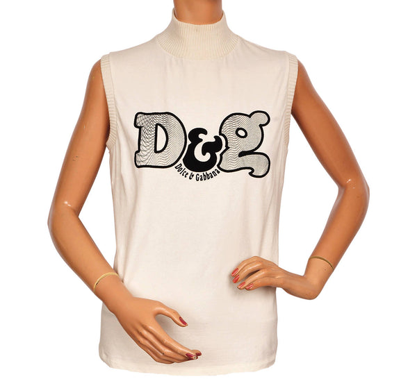 Dolce & Gabbana Logo Sleeveless Shell Top w Lace Back Made in Italy Size M