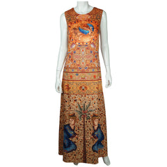 Donna Karan Silk Dress Byzantine Tile Pattern Print Sleeveless Full Length Sz M - Poppy's Vintage Clothing