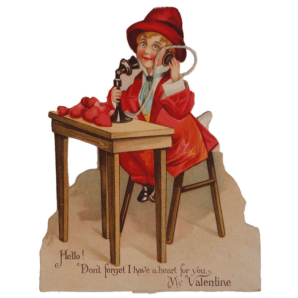 Vintage 1920s Telephone Valentine Standing Card - Poppy's Vintage Clothing