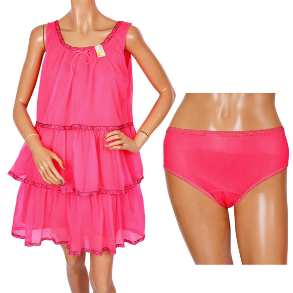 Vintage 1960s Shocking Pink Nylon Ruffled Nightgown with Matching Panties - New Old Stock - S - Poppy's Vintage Clothing