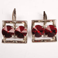 Vintage 1960s Double Red Rhinestone Cufflinks Silver Tone Setting - Poppy's Vintage Clothing
