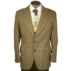 Vintage Harris Tweed Herringbone Jacket Dunn & Co Sport Coat Size M - Poppy's Vintage Clothing