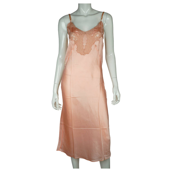 Vintage 1930s Slip Ladies Pink Silk Lingerie with Ecru Lace Trim Size 34 - Poppy's Vintage Clothing