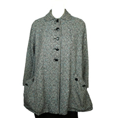 Vintage 1950s Swing Jacket Flecked Grey with Belt Size L - Poppy's Vintage Clothing