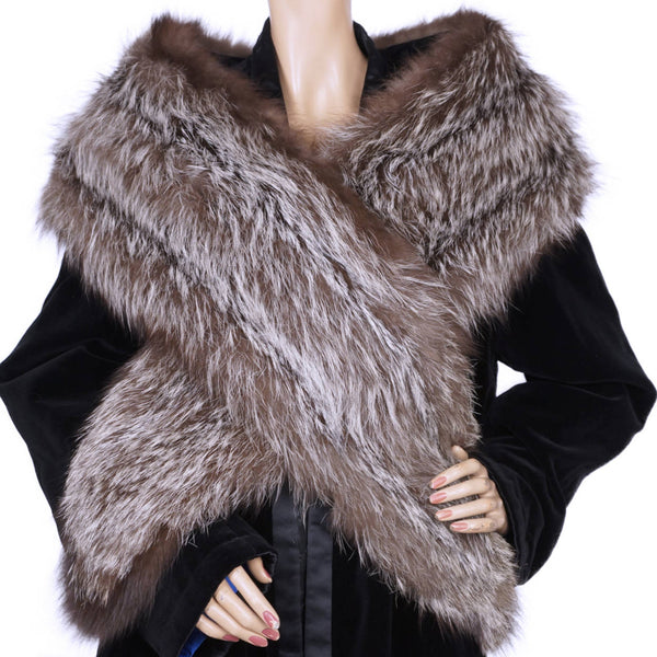 "Vintage 1950s Silver Fox Fur Stole Large Shoulder Wrap 76"" x 10"" 50s Glamour - Poppy's Vintage Clothing"