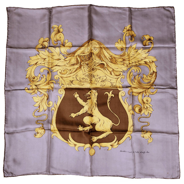 Vintage Echo Japan Silk Scarf Heraldic Crest Coat of Arms Lion Design - Poppy's Vintage Clothing