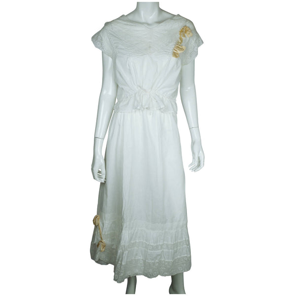 Antique Edwardian White Cotton Petticoat & Chemise Set w Lace Trim Size M / L - Poppy's Vintage Clothing