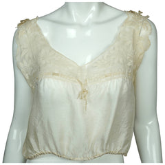 Antique Unused Camisole Top Old Store Stock Cream White Silk & Lace Size Medium - Poppy's Vintage Clothing