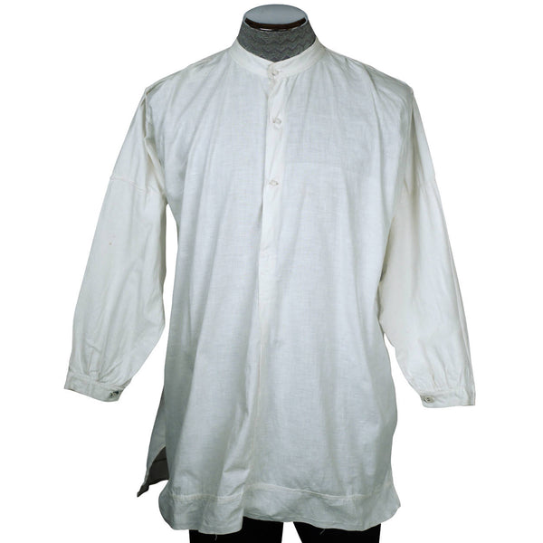 Antique Victorian Mens Shirt White Cotton Dorset Buttons M - Poppy's Vintage Clothing