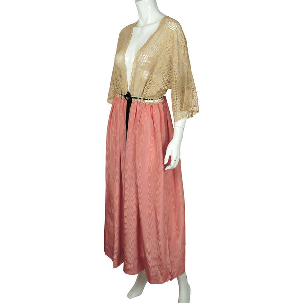 Antique Edwardian Era Dressing Gown Pink Silk Moiré & Ecru Lace Ladies Size L - Poppy's Vintage Clothing