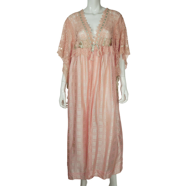 Antique Edwardian Era Dressing Gown Pink Silk & Lace Peignoir Ladies Size L - Poppy's Vintage Clothing