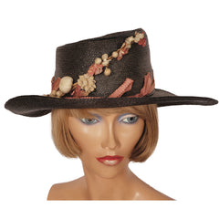 Antique-Black-Straw-Hat