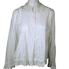Antique Victorian Combing Jacket Blouse White Cotton Size M - Poppy's Vintage Clothing