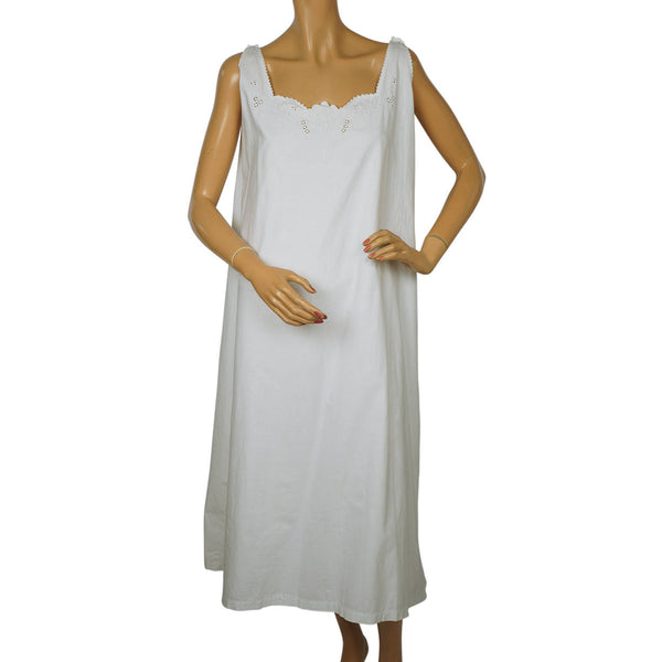 Antique White Cotton Nightie Embroidered Nightgown 1910s Size Large - Poppy's Vintage Clothing