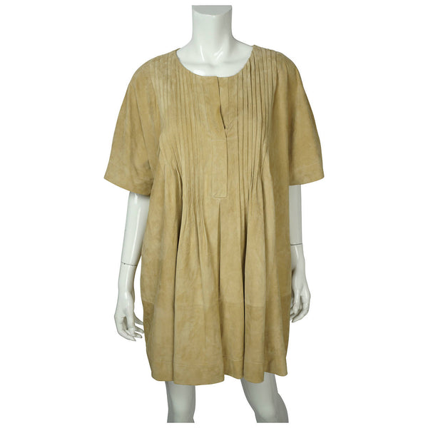 Suede Leather Tunic Top Eleni Marinos Montreal Couture L XL - Poppy's Vintage Clothing