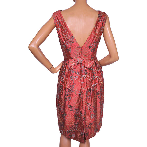 Vintage-Early-1960s-Silk-Satin-Floral-Embroidered-Dress-Back-View