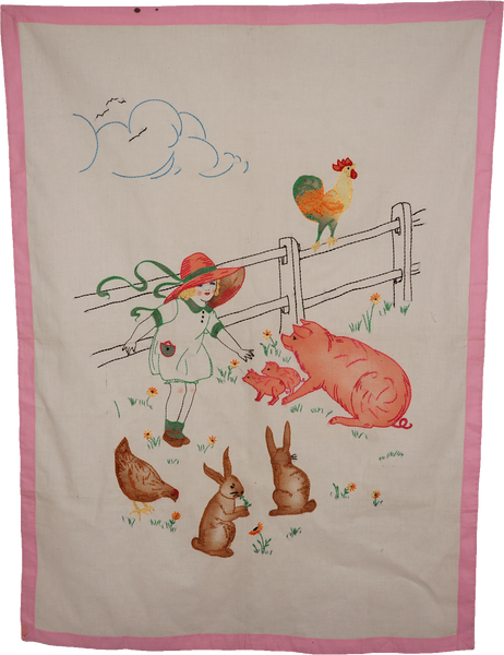 1930s Embroidery of Farm Animals Crib Cover