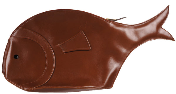 Vintage 1990s Emmanuelle Khanh Fish Form Novelty Purse Brown Leather Clutch Style - Poppy's Vintage Clothing