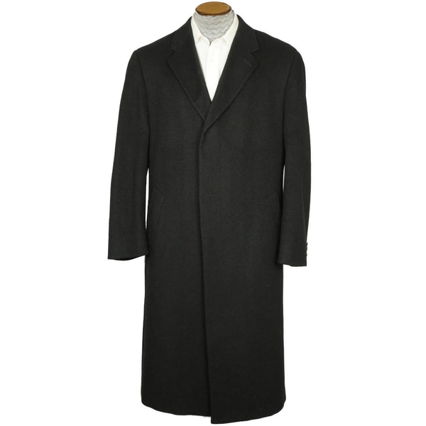 Vintage Mens Overcoat 100% Italian Cashmere Black Coat Size 42 Excellent - Poppy's Vintage Clothing