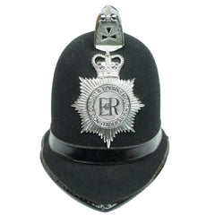 Vintage English Bobby Custodian Helmet Dorset & Bournemouth Constabulary 1960s
