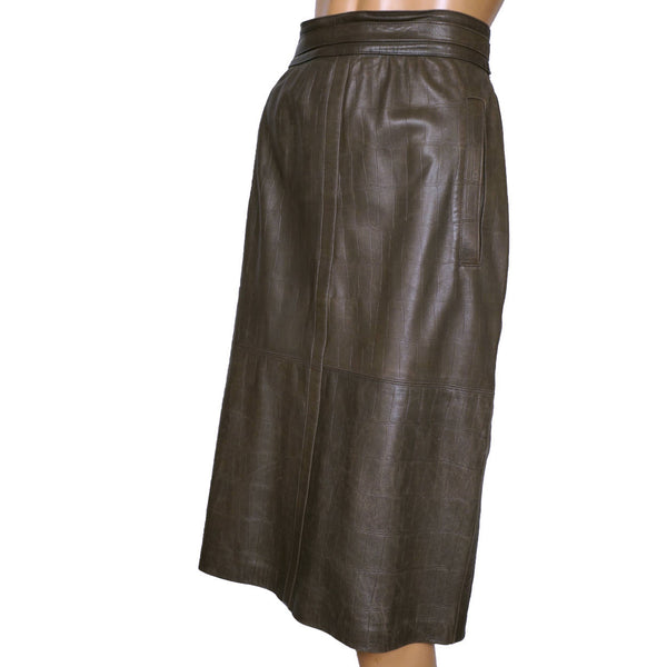 Vintage 1980s Escada Embossed Brown Leather Skirt Margaretha Ley Size L Germany - Poppy's Vintage Clothing