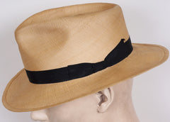 1940s Mens Fashion Panama Hat Fedora Style Made in Italy F Fabrizi Roma 7 1/4 - Poppy's Vintage Clothing