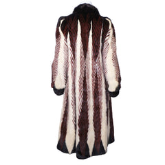 Vintage-1970s-Feather-Mink-Dyed-Pattern-Coat-Back-View