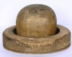 Antique HAT BLOCK & Brim RING Bowler Shape Wood Milliners Form Millinery Mold - Poppy's Vintage Clothing