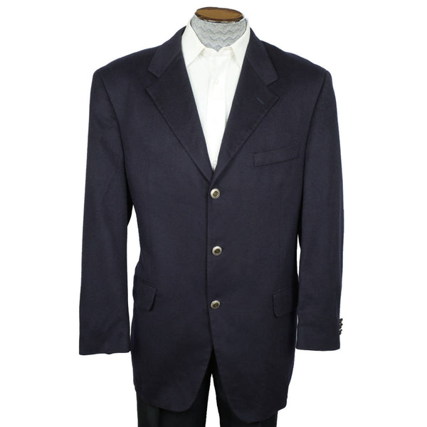 Fendi Loro Piana Pure Cashmere Jacket Navy Blue Blazer Size L 44 Made in Italy - Poppy's Vintage Clothing
