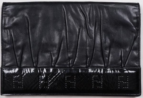 Vintage Clutch by Fendi with Fendi Logo - Black Patent Leather Purse - Made in Italy - Poppy's Vintage Clothing