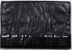 Vintage Fendi Black Leather Clutch Purse