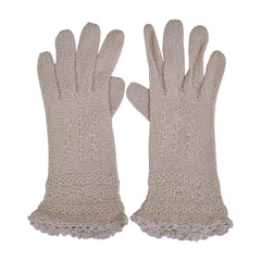 Vintage Fine Crochet Knitted Lace Gloves Grey Hand Made Ladies Size Medium 7 - Poppy's Vintage Clothing