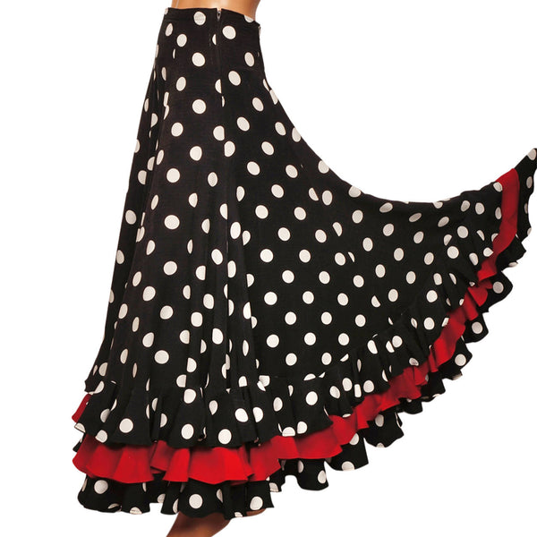 Vintage Spanish Flamenco Style Skirt White Polka Dot on Black w Red Flounce - Poppy's Vintage Clothing