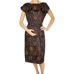 Vintage 1960s Cocktail Dress Floral Woven Satin Brown and Black Size M - Poppy's Vintage Clothing