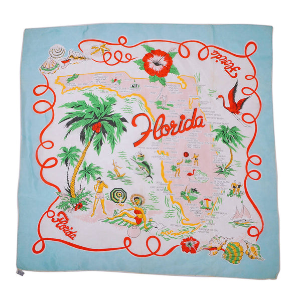 Vintage Florida Souvenir Scarf Square Early 1960s State Map Rayon MIJ - Poppy's Vintage Clothing