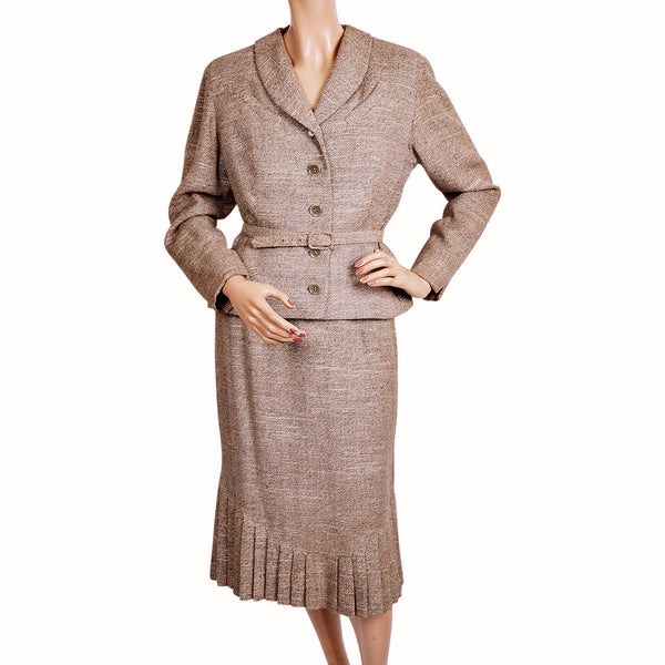 Vintage 50s Wool and Silk Tweed Ladies Skirt Suit by Forstmann Size  M - Poppy's Vintage Clothing