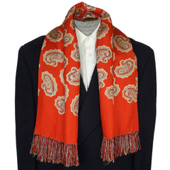 Vintage Mens Red Silk Fringed Paisley Scarf by Forsyth 1940s Fashion Foulard - Poppy's Vintage Clothing