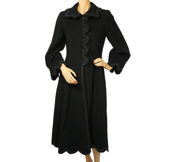 Vintage 1950s Black Wool Coat Haute Couture Frank Oujezdsky Montreal Ladies S - Poppy's Vintage Clothing