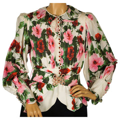 Vintage Silk Blouse Rose Floral Pattern Frank Oujezdsky Haute Couture 1960s - Poppy's Vintage Clothing
