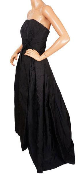Vintage 1960s Evening Gown Haute Couture Strapless Dress In Black Silk