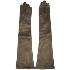 Vintage 1950s Long Brown Kid Leather Gloves Unused Made in France Ladies Sz 6.5 - Poppy's Vintage Clothing