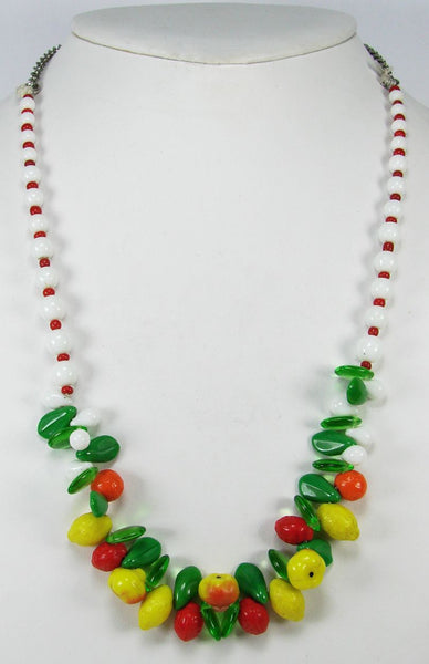 Carmen Miranda Glass Fruit Necklace 1940s - Poppy's Vintage Clothing