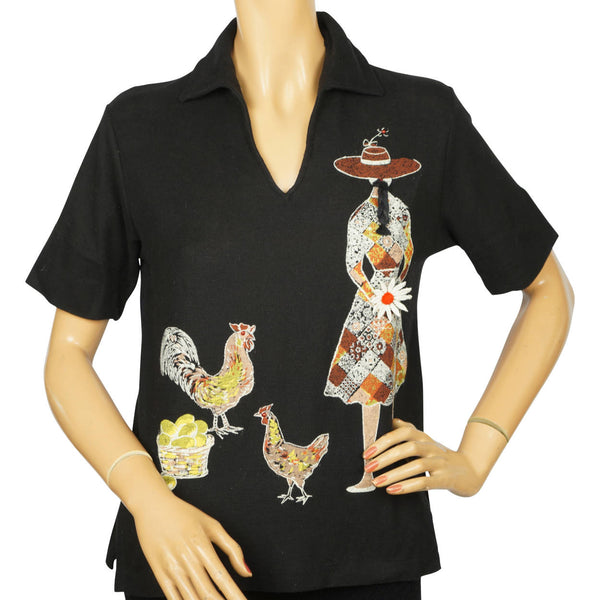 Vintage 1960s Novelty Top Funsters by Darwyn Girl w Chickens Ladies Polo Shirt M - Poppy's Vintage Clothing