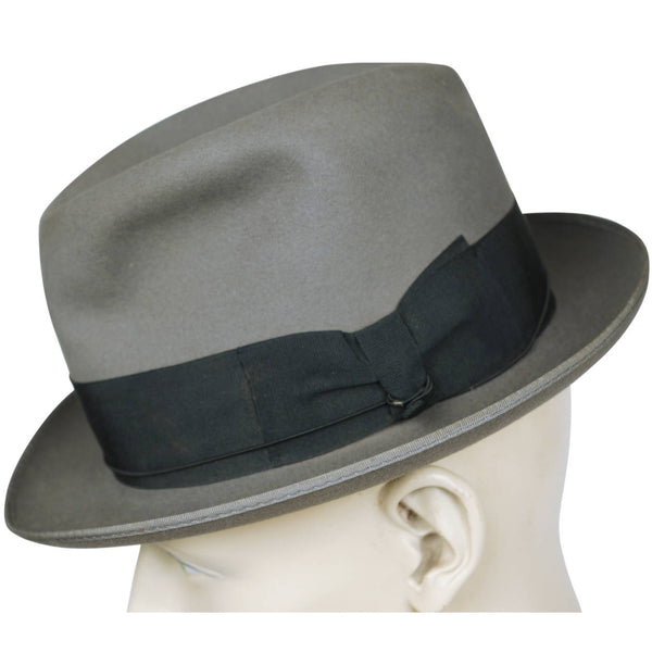 Vintage 1930s GB Borsalino Di Lazzaro Grey Fedora Hat Mens Size Medium 7 1/8 - Poppy's Vintage Clothing