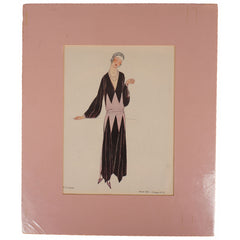 French Art Deco Pochoir Print of 1922 Dress Gazette du Bon Ton No 8 VI - Poppy's Vintage Clothing