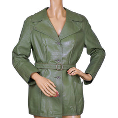 Vintage Ladies Green Leather Jacket Worhoff Germany 1960s Size M - Poppy's Vintage Clothing