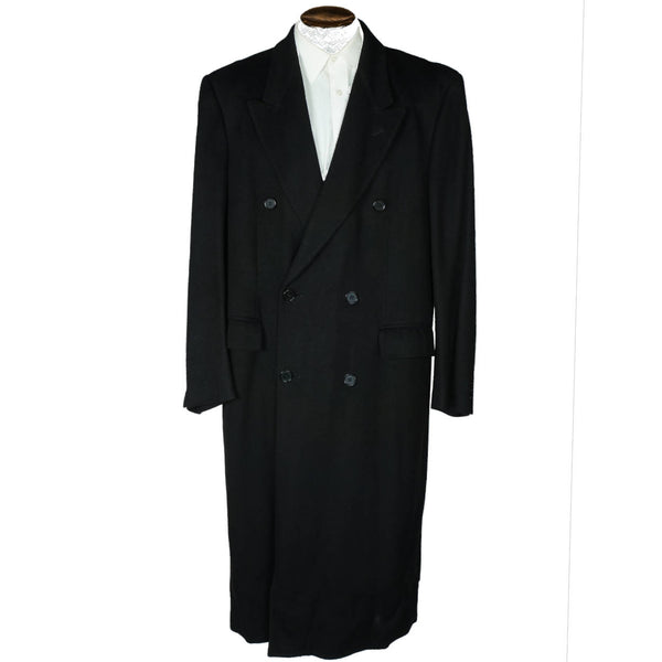 Vintage Mens Pure Cashmere Coat Black Overcoat Made in Italy Size L 44 - Poppy's Vintage Clothing