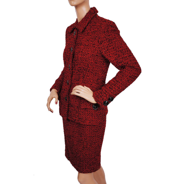 Vintage Gianni Versace Couture Red Wool Boucle Suit Ladies Size 6 Small - Poppy's Vintage Clothing