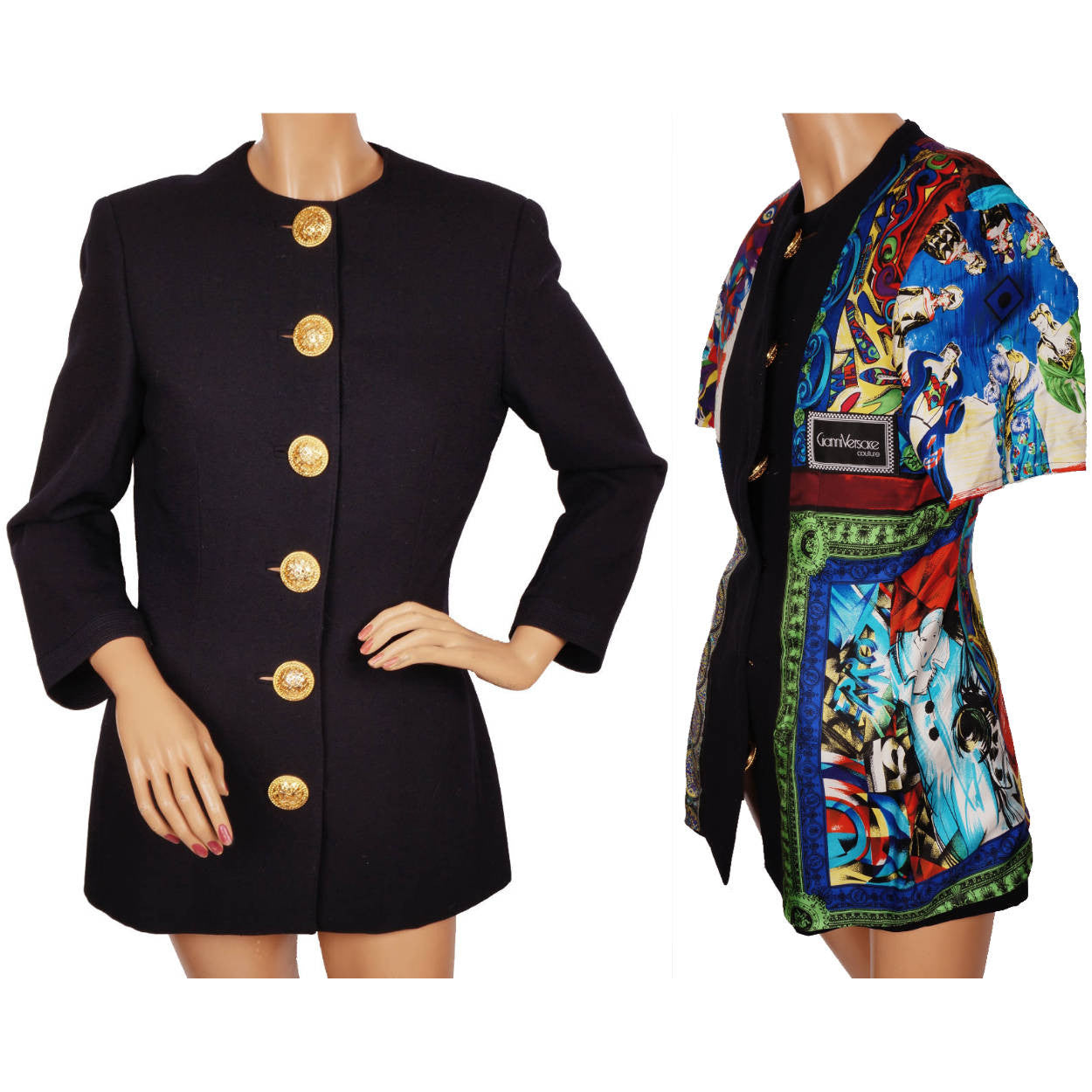 a7ab95f19bb2d7 Vintage Gianni Versace Couture Silk and Wool Ladies Jacket Size 6 Smal